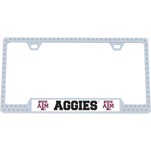 Texas A and M Bling Tag Frame - Our collegiate bling tag frame are the perfect balance of chrome and glitz. The chrome tag frame is framed in crystals with an enameled plate featuring the school's primary logo and name. Thank you for shopping with CrazedOutSports.com