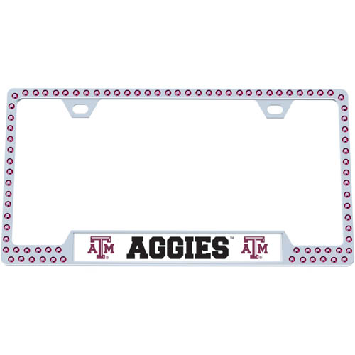 Texas AandM Bling Tag Frame - Our collegiate bling tag frame are the perfect balance of chrome and glitz. The chrome tag frame is framed in crystals with an enameled plate featuring the school's primary logo and name. Thank you for shopping with CrazedOutSports.com