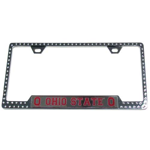 Ohio St. Bling Tag Frame - Our collegiate bling tag frame are the perfect balance of chrome and glitz. The chrome tag frame is framed in crystals with an enameled plate featuring the school's primary logo and name. Thank you for shopping with CrazedOutSports.com