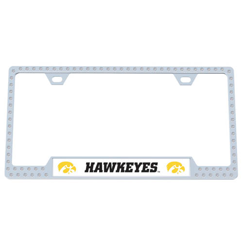 Iowa Hawkeyes Bling Tag Frame - Iowa Hawkeyes collegiate bling tag frame are the perfect balance of chrome and glitz. The chrome tag frame is framed in crystals with an enameled plate featuring the school's primary logo and name. Thank you for shopping with CrazedOutSports.com