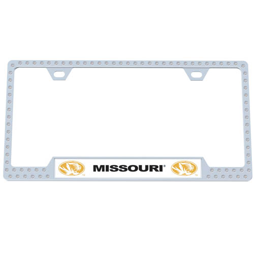 Missouri Bling Tag Frame - Our collegiate bling tag frame are the perfect balance of chrome and glitz. The chrome tag frame is framed in crystals with an enameled plate featuring the school's primary logo and name. Thank you for shopping with CrazedOutSports.com