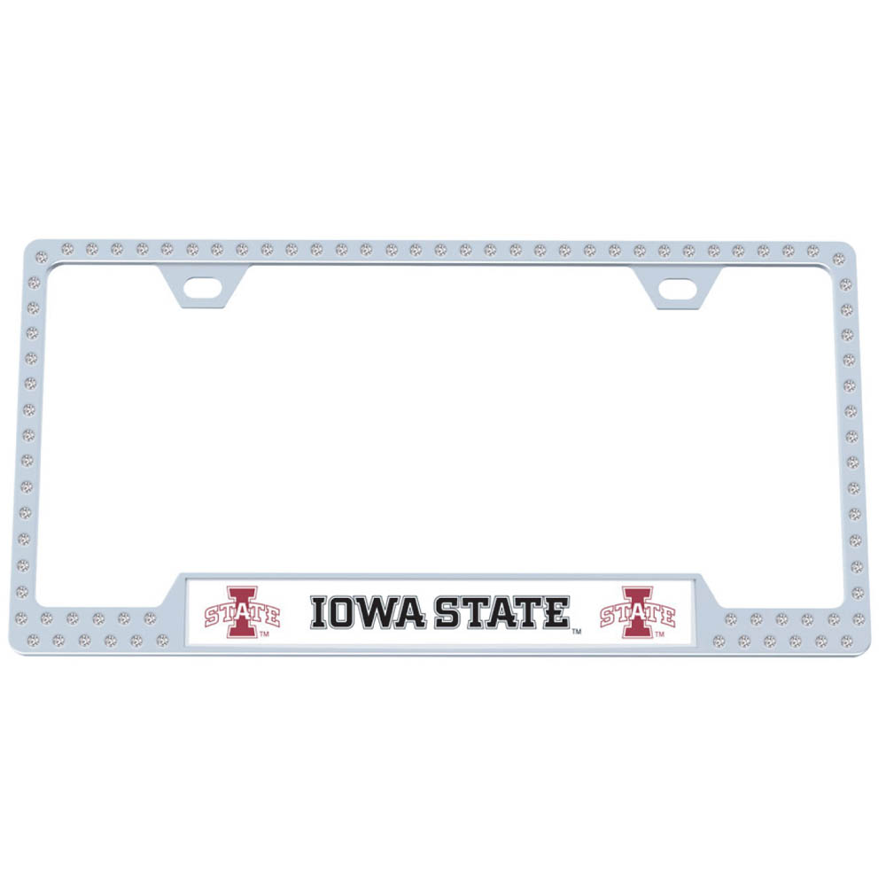 Iowa St. Cyclones Bling Tag Frame - Our bling tag frame are the perfect balance of chrome and glitz. The chrome tag frame is framed in crystals with an enameled plate featuring the Iowa St. Cyclones logo and name.
