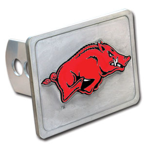 College Trailer Hitch Cover - Arkansas Razorbacks - Our Arkansas Razorbacks College Trailer Hitch Cover is hand painted with 3-D carved logo. Hardware included. Fits standard hitches. Enameled on durable, rust-proof zinc. Fits Class II and Class III hitches. Check out our extensive line of  automotive accessories! Thank you for shopping with CrazedOutSports.com