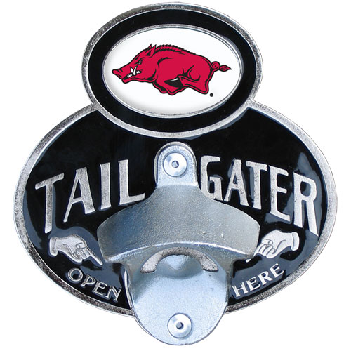 Arkansas Razorbacks Tailgater Hitch Cover - Our tailgater hitch cover   features a functional bottle opener and Arkansas Razorbacks school emblem with enameled finish. Fits class II and Class III hitch covers. Thank you for shopping with CrazedOutSports.com