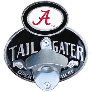 Alabama Crimson Tide Tailgater  Hitch - Our tailgater hitch cover   features a functional bottle opener and Alabama Crimson Tide school emblem with enameled finish. Fits class II and Class III hitch covers. Thank you for shopping with CrazedOutSports.com