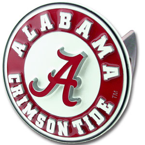 College Trailer Hitch Cover - Alabama Crimson Tide - Our Alabama Crimson Tide College Trailer Hitch Cover is hand painted with 3-D carved logo. Hardware included. Fits standard hitches. Enameled on durable, rust-proof zinc. Fits Class II and Class III hitches. Check out our extensive line of  automotive accessories! Thank you for shopping with CrazedOutSports.com