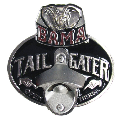Collegiate Hitch Cover - Alabama Crimson Tide - Our Alabama Crimson Tide tailgater hitch cover   features a functional bottle opener and school emblem with enameled finish. Thank you for shopping with CrazedOutSports.com