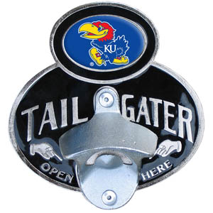 Kansas Jayhawks Tailgater Hitch Cover - Kansas Jayhawks tailgater hitch cover features a functional bottle opener and school emblem with enameled finish. Fits class II and Class III hitch covers. Thank you for shopping with CrazedOutSports.com