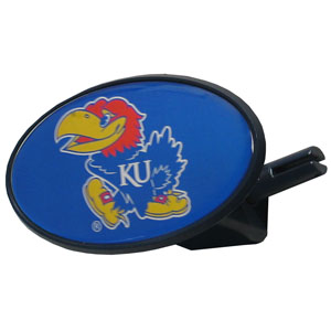 Kansas Jayhawks College Hitch Cover - Strong plastic Kansas Jayhawks hitch cover that includes hitch pin and features a school logo dome. Kansas Jayhawks College Hitch Cover fits class III receivers. Thank you for shopping with CrazedOutSports.com
