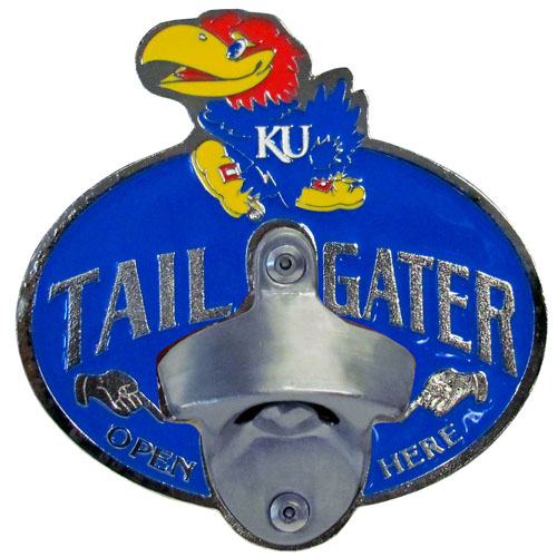 Collegiate Hitch Cover - Kansas Jayhawks - Kansas Jayhawks tailgater hitch cover features a functional bottle opener and school emblem with enameled finish. Thank you for shopping with CrazedOutSports.com