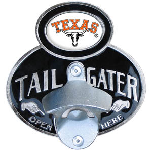 Texas Tailgater Hitch Cover - Our tailgater hitch cover   features a functional bottle opener and school emblem with enameled finish. Fits class II and Class III hitch covers. Thank you for shopping with CrazedOutSports.com