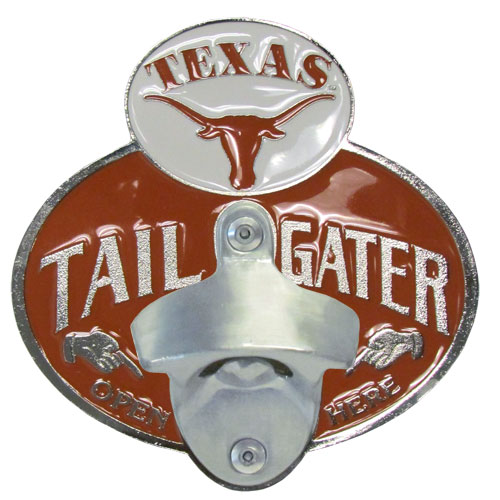 Collegiate Hitch Cover - Texas Longhorns - Our tailgater hitch cover   features a functional bottle opener and school emblem with enameled finish. Thank you for shopping with CrazedOutSports.com