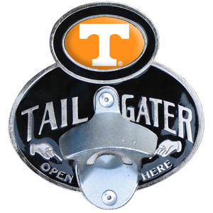 Tennessee Tailgater  Hitch - Our tailgater hitch cover   features a functional bottle opener and school emblem with enameled finish. Fits class II and Class III hitch covers. Thank you for shopping with CrazedOutSports.com