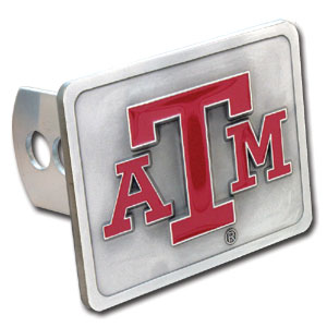 College Trailer Hitch Cover - Texas AandM Aggies - Our College Trailer Hitch Cover is hand painted with 3-D carved logo. Hardware included. Fits standard hitches. Enameled on durable, rust-proof zinc. Fits Class II and Class III hitches. Check out our extensive line of  automotive accessories! Thank you for shopping with CrazedOutSports.com