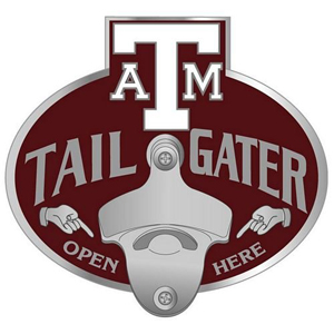 Texas A & M Tailgater Hitch Cover - Our tailgater hitch cover   features a functional bottle opener and school emblem with enameled finish. Fits class II and Class III hitch covers. Thank you for shopping with CrazedOutSports.com