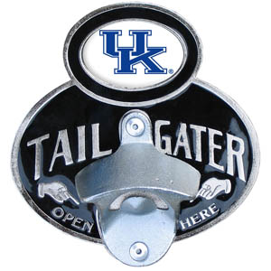 Kentucky Tailgater Hitch Cover - Our tailgater hitch cover   features a functional bottle opener and school emblem with enameled finish. Thank you for shopping with CrazedOutSports.com