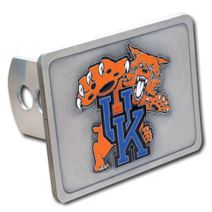 College Trailer Hitch Cover - Kentucky Wildcats - Our College Trailer Hitch Cover is hand painted with 3-D carved logo. Hardware included. Fits standard hitches. Enameled on durable, rust-proof zinc. Fits Class II and Class III hitches. Check out our extensive line of  automotive accessories! Thank you for shopping with CrazedOutSports.com