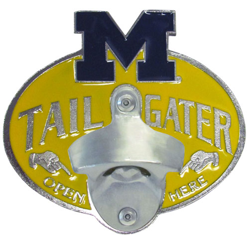 Michigan Wolverines Tailgater Hitch Cover - Michigan Wolverines Tailgater Hitch Cover features a functional bottle opener and school emblem with enameled finish. Michigan Wolverines Tailgater Hitch Cover fits class II and Class III hitch covers. Thank you for shopping with CrazedOutSports.com