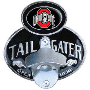 Ohio St. Tailgater  Hitch - Our tailgater hitch cover   features a functional bottle opener and school emblem with enameled finish. Fits class II and Class III hitch covers. Thank you for shopping with CrazedOutSports.com