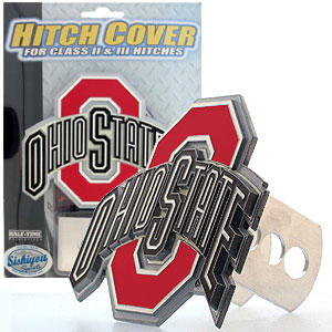 College Trailer Hitch Cover - Ohio State Buckeyes - Our College Trailer Hitch Cover is hand painted with 3-D carved logo. Hardware included. Fits standard hitches. Enameled on durable, rust-proof zinc. Fits Class II and Class III hitches. Check out our extensive line of  automotive accessories! Thank you for shopping with CrazedOutSports.com