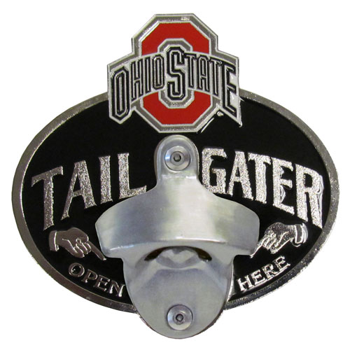 Collegiate Hitch Cover - Ohio St. Buckeyes - Our tailgater hitch cover   features a functional bottle opener and school emblem with enameled finish. Thank you for shopping with CrazedOutSports.com