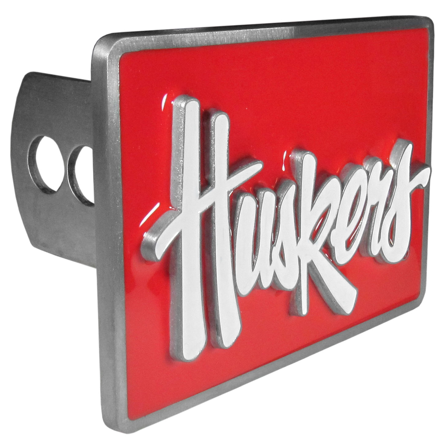 Nebraska Cornhuskers Hitch Cover Class II and Class III Metal Plugs - These are heavy-duty hitch plates made from fully cast zinc with raised details and the Nebraska Cornhuskers logo with enameled details. The hitch kit includes metal plugs for both the Class II and Class III hitch receivers. The screws and gaskets are included.