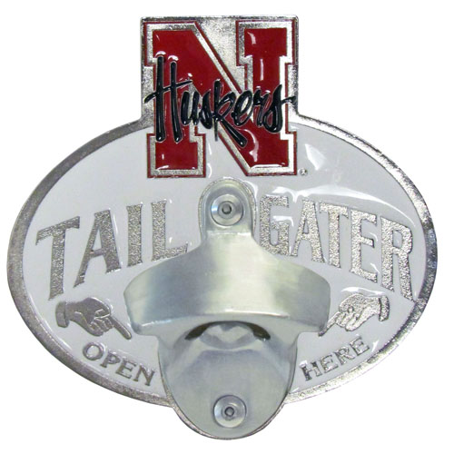 Collegiate Hitch Cover - Nebraska Cornhuskers - Our tailgater hitch cover   features a functional bottle opener and school emblem with enameled finish. Thank you for shopping with CrazedOutSports.com