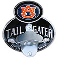 Auburn Tigers Tailgater Hitch Cover Class III - You're not going to find this cool hitch cover anywhere else! These quality metal hitch covers feature a functional bottle opener and the Auburn Tigers logo on a domed emblem. Kit comes with wire plugs that fit a class III hitch receiver. Thank you for shopping with CrazedOutSports.com
