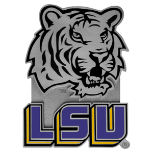 "LSU Tigers Collegiate Hitch Cover - LSU Tigers collegiate hitch cover is a durable and attractive way to show off your school spirit. The LSU Tigers hitch cover fits a 2"" hitch receiver. Thank you for shopping with CrazedOutSports.com"
