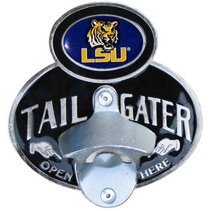 LSU Tigers Tailgater Hitch Cover - This LSU Tigers tailgater hitch cover features a functional bottle opener and school emblem with enameled finish. LSU Tigers Tailgater Hitch Cover fits class II and Class III hitch. Thank you for shopping with CrazedOutSports.com