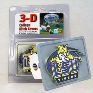 LSU Tigers College Hitch Cover - This LSU Tigers College Trailer Hitch Cover is hand painted with 3-D carved logo. Hardware included. The LSU Tigers College Hitch Cover fits standard hitches. Enameled on durable, rust-proof zinc. The LSU Tigers College Hitch Cover fits Class II and Class III hitches. Check out our extensive line of  automotive accessories! Thank you for shopping with CrazedOutSports.com