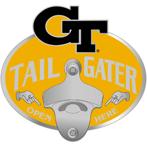 Collegiate Hitch Cover - Georgia Tech Yellow Jackets - This Georgia Tech Yellow Jackets tailgater hitch cover features a functional bottle opener and Georgia Tech Yellow Jackets school emblem with enameled finish. Thank you for shopping with CrazedOutSports.com