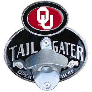 Oklahoma Tailgater Hitch Cover - Our tailgater hitch cover   features a functional bottle opener and school emblem with enameled finish. Fits class II and Class III hitch covers. Thank you for shopping with CrazedOutSports.com