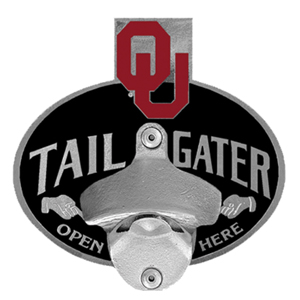 Collegiate Hitch Cover - Oklahoma Sooners - Our tailgater hitch cover   features a functional bottle opener and school emblem with enameled finish. Thank you for shopping with CrazedOutSports.com