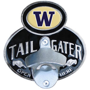 Washington Tailgater  Hitch - Our tailgater hitch cover   features a functional bottle opener and school emblem with enameled finish. Fits class II and Class III hitch covers. Thank you for shopping with CrazedOutSports.com