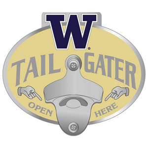 Collegiate Hitch Cover - Washington Huskies - Our tailgater hitch cover   features a functional bottle opener and school emblem with enameled finish. Thank you for shopping with CrazedOutSports.com