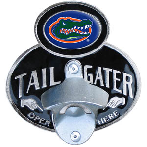 Florida Gators Tailgater Hitch - Our Florida Gators tailgater hitch cover  features a functional bottle opener and Florida Gators school emblem with enameled finish. Fits class II and Class III hitch covers. Thank you for shopping with CrazedOutSports.com