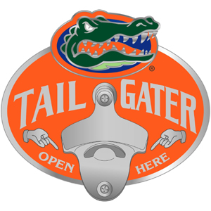 Collegiate Hitch Cover - Florida Gators - Our tailgater hitch cover  features a functional bottle opener and Florida Gators school emblem with enameled finish. Thank you for shopping with CrazedOutSports.com