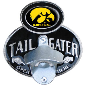 Iowa Hawkeyes Tailgater Hitch - Iowa Hawkeyes tailgater hitch cover features a functional bottle opener and school emblem with enameled finish. Fits class II and Class III hitch covers. Thank you for shopping with CrazedOutSports.com