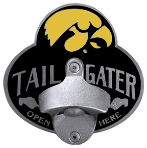Collegiate Hitch Cover - Iowa Hawkeyes - Iowa Hawkeyes tailgater hitch cover features a functional bottle opener and school emblem with enameled finish. Thank you for shopping with CrazedOutSports.com