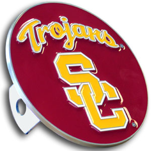 College Trailer Hitch Cover - USC Trojans - Our College Trailer Hitch Cover is hand painted with 3-D carved logo. Hardware included. Fits standard hitches. Enameled on durable, rust-proof zinc. Fits Class II and Class III hitches. Check out our extensive line of  automotive accessories! Check out our entire line of   Thank you for shopping with CrazedOutSports.com
