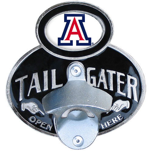 Arizona Tailgater Hitch Cover - Our tailgater hitch cover   features a functional bottle opener and school emblem with enameled finish. Thank you for shopping with CrazedOutSports.com