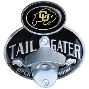 Colorado Buffaloes Tailgater Hitch Cover - Our tailgater hitch cover   features a functional bottle opener and Colorado Buffaloes school emblem with enameled finish. Thank you for shopping with CrazedOutSports.com