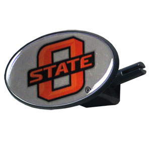 Oklahoma St. College Hitch Cover - Strong plastic hitch cover that includes hitch pin and features a school logo dome. Fits class III receivers. Thank you for shopping with CrazedOutSports.com