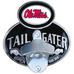 Mississippi Tailgater Hitch Cover - Our tailgater hitch cover   features a functional bottle opener and school emblem with enameled finish. Thank you for shopping with CrazedOutSports.com