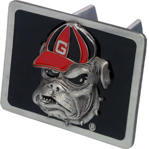 College Hitch Cover - Georgia Bulldogs - This Georgia Bulldogs College Trailer Hitch Cover is hand painted with 3-D carved logo. Hardware included. Fits standard hitches. Enameled on durable, rust-proof zinc. Fits Class II and Class III hitches. Check out our extensive line of  automotive accessories! Thank you for shopping with CrazedOutSports.com