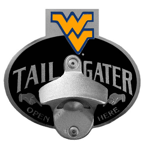 Collegiate Hitch Cover - W. Virginia Mountaineers - Our tailgater hitch cover   features a functional bottle opener and school emblem with enameled finish. Thank you for shopping with CrazedOutSports.com