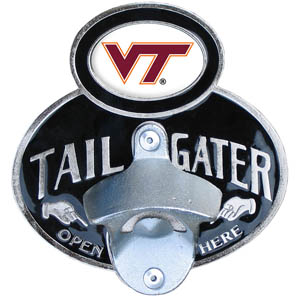 Virginia Tech Tailgater  Hitch - Our tailgater hitch cover   features a functional bottle opener and school emblem with enameled finish. Fits class II and Class III hitch covers. Thank you for shopping with CrazedOutSports.com