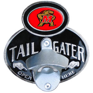 Maryland Terrapins Tailgater Hitch Cover - This Maryland Terrapins tailgater hitch cover features a functional bottle opener and school emblem with enameled finish. Maryland Terrapins Tailgater Hitch Cover fits class II and Class III hitch covers. Thank you for shopping with CrazedOutSports.com