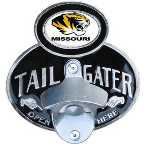 Missouri Tailgater  Hitch - Our tailgater hitch cover   features a functional bottle opener and school emblem with enameled finish. Fits class II and Class III hitch covers. Thank you for shopping with CrazedOutSports.com